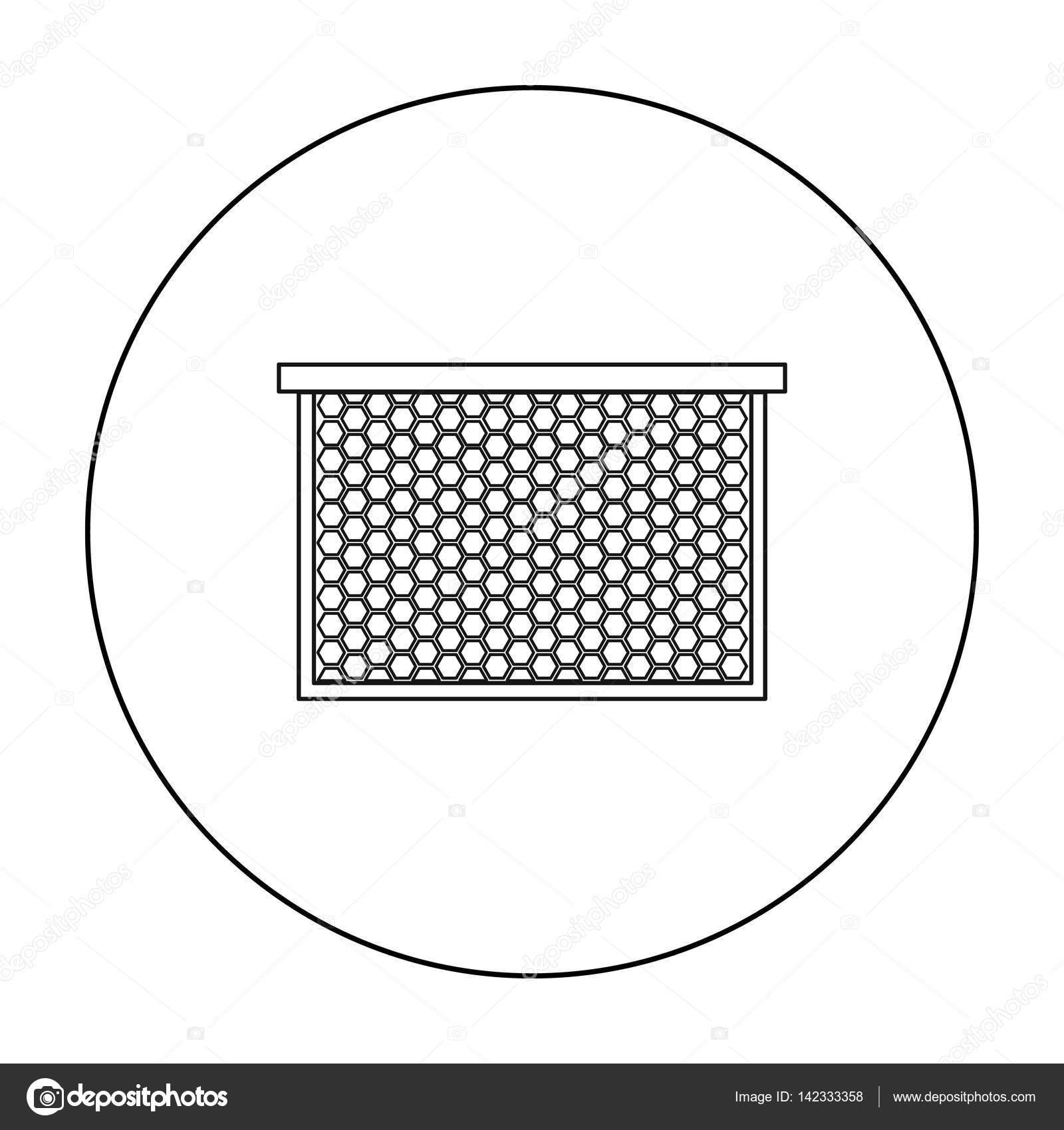 Rahmen mit Waben-Symbol im Umriss-Stil isoliert auf weißem ...