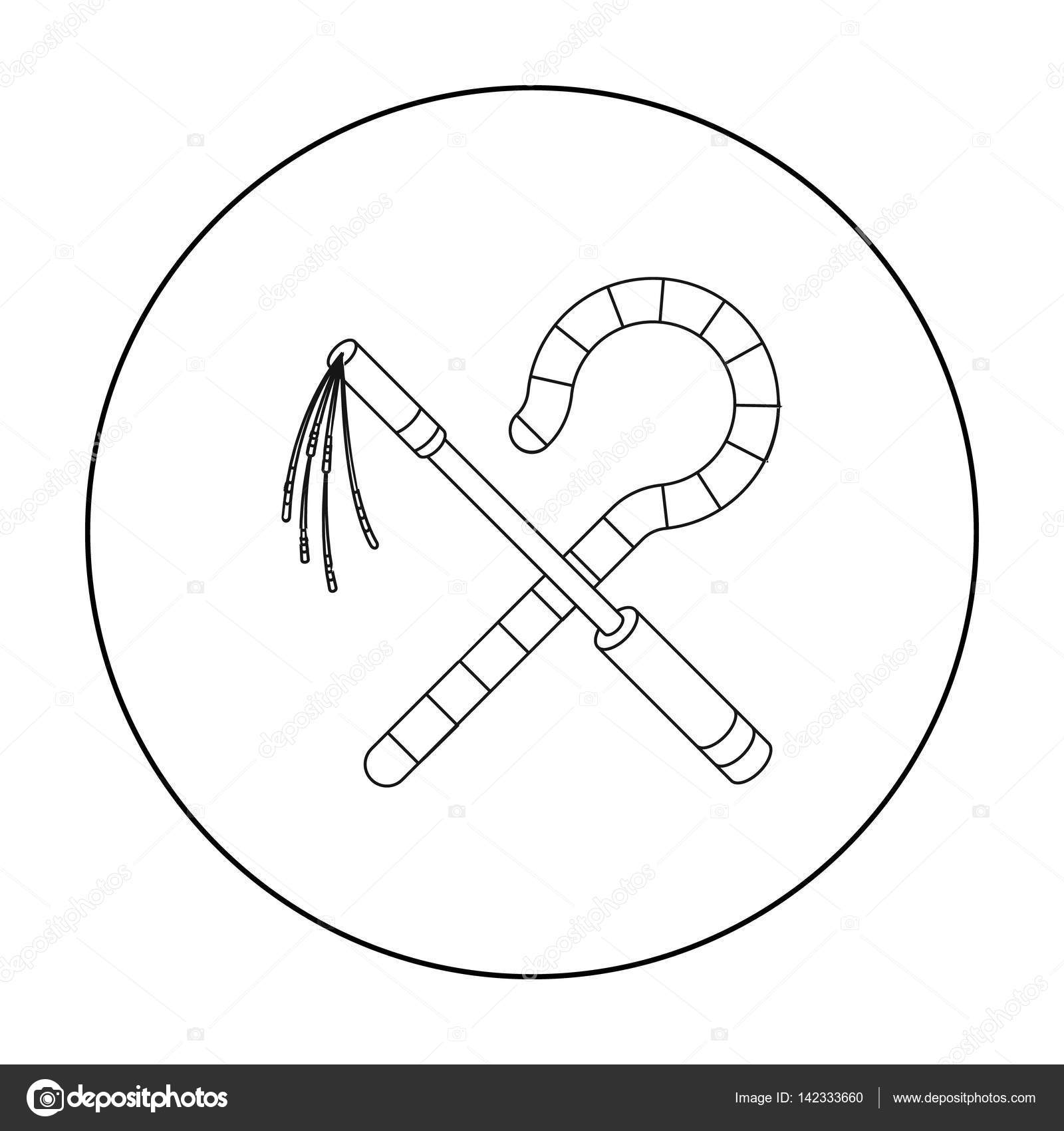Bandido e malho cone no estilo de contorno isolado no fundo branco bandido e malho cone no estilo de contorno isolado no fundo branco ilustrao em vetor antiga egito smbolo vetor de pandavector ccuart Images