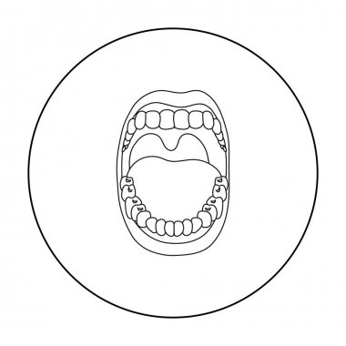 Mouth icon in outline style isolated on white background. Organs symbol stock vector illustration.