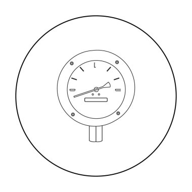 Oil manometer icon in outline style isolated on white background. Oil industry symbol stock vector illustration.