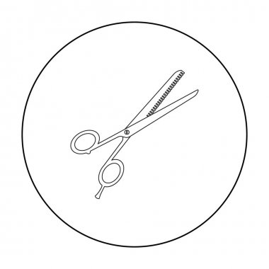 Thinning shears icon in outline style isolated on white background. Hairdressery symbol stock vector illustration.