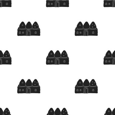 Beehive house icon in black style isolated on white background. Turkey pattern stock vector illustration.