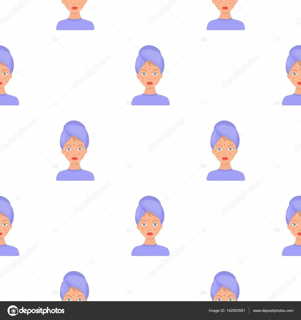 Woman With Acne Icon In Cartoon Style Isolated On White Background  Skin Care Pattern Stock