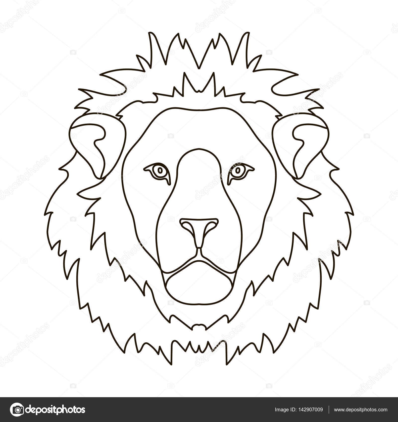Icono de Lion en contorno estilo aislado sobre fondo blanco ...