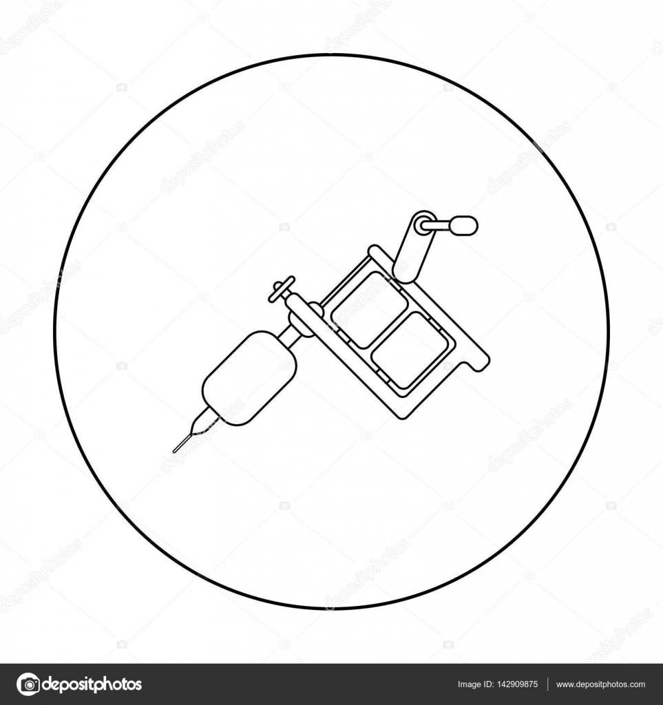 Tattoo Maschine Symbol Umriss Einzelne Aus Der Groen Circuit Diagram Studio Gliederung Stockvektor