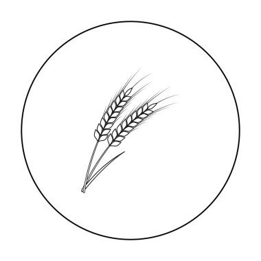 Ears of wheat pasta icon in outline style isolated on white background. Types of pasta symbol stock vector illustration.