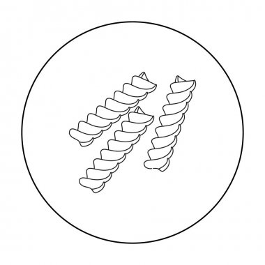 Fusilli icon pasta in outline style isolated on white background. Types of pasta symbol stock vector illustration.