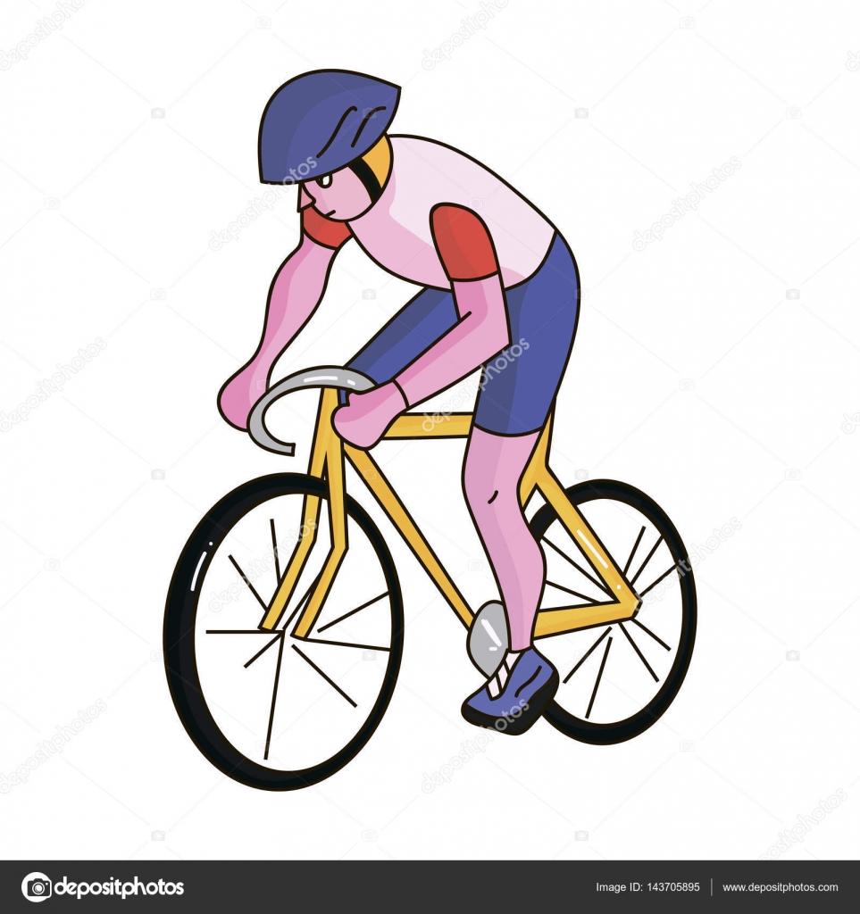 Un atleta con un casco de montar su bicicleta en el campo. Cycling ...