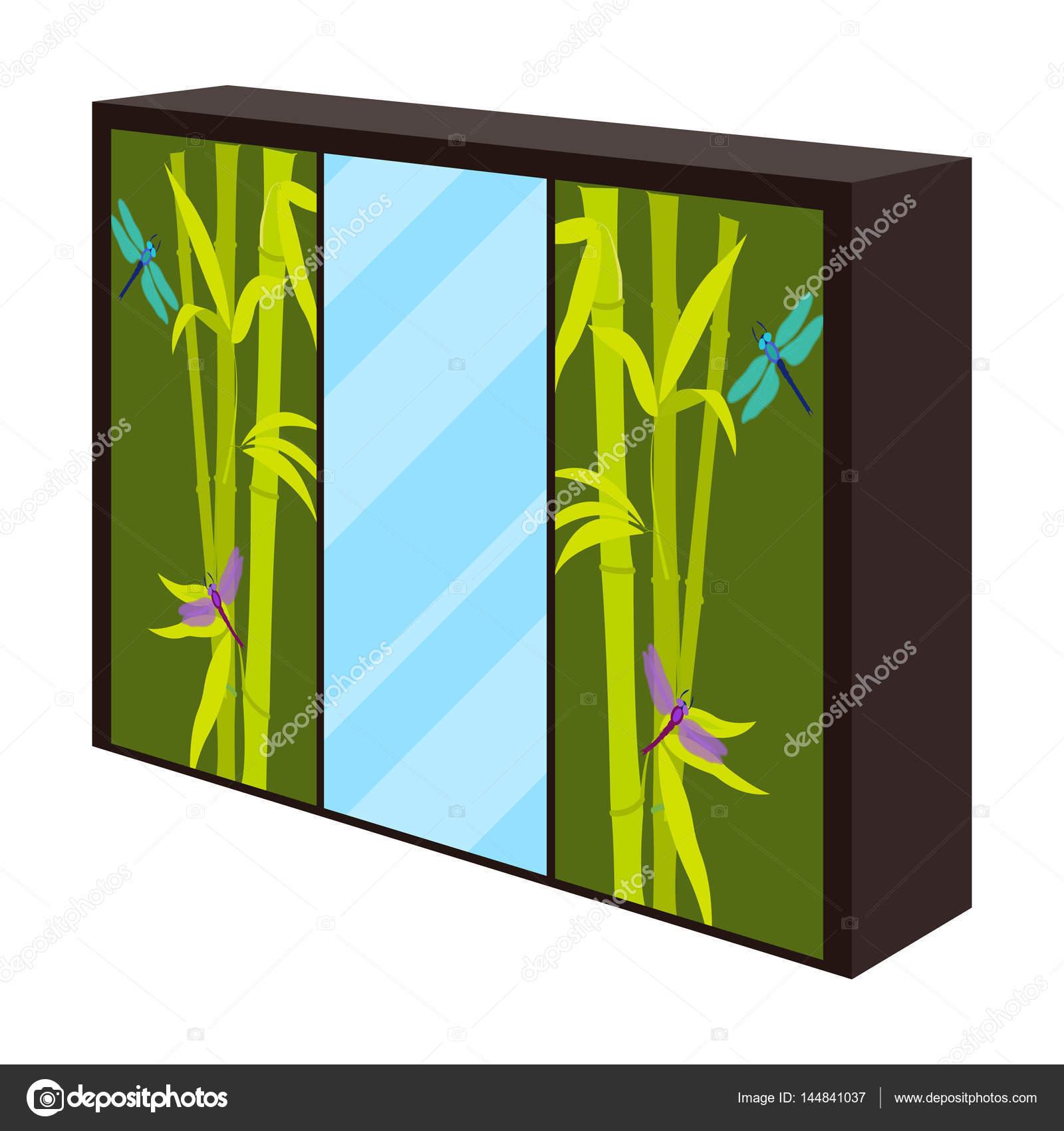 Armario Con Puertas De Espejo Y Verde El Lugar Para La Ropa  # Muebles Para Ropa