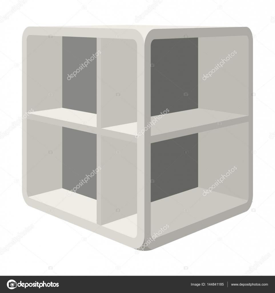 Kleines Zimmer Couchtisch. Weiße Tabelle Mit Zellen. Schlafzimmer Möbel  Einzelnes Symbol Im Cartoon Stil