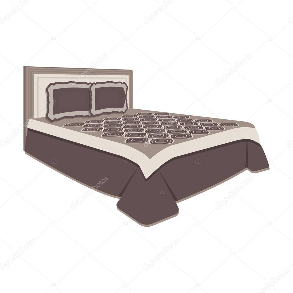 Camera da letto vista superiore con parete beige letto matrimoniale con letto plaid marrone - Camera da letto beige ...