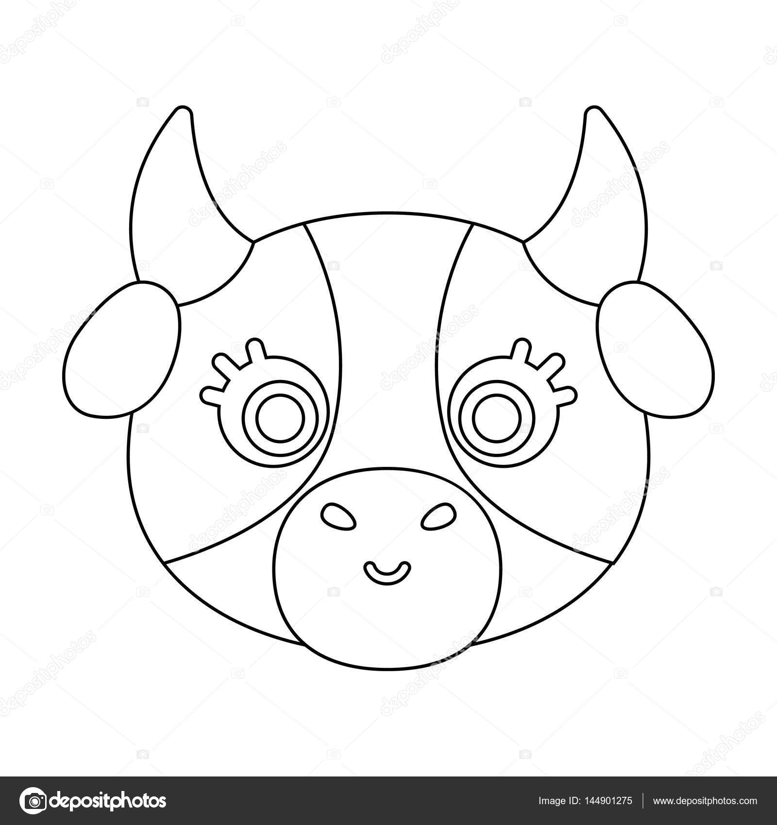 Cow Muzzle Icon In Outline Style Isolated On White Background