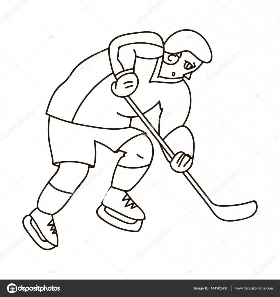 Jugador de hockey en equipo completo con un palo jugando al hockey ...