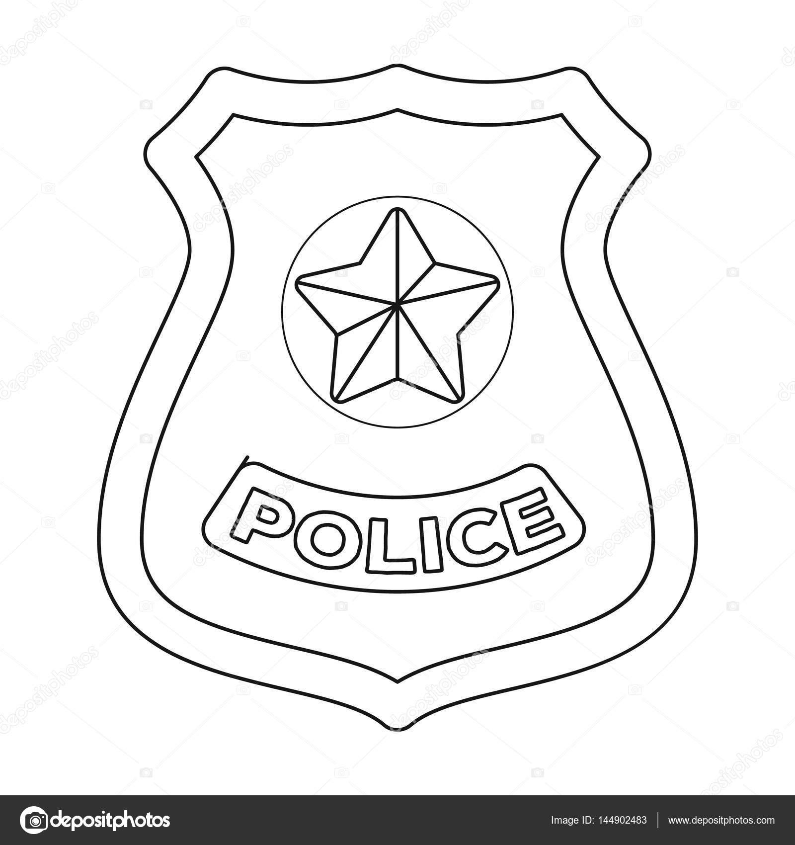 Policía insignia icono de estilo de contorno, aislado sobre fondo ...