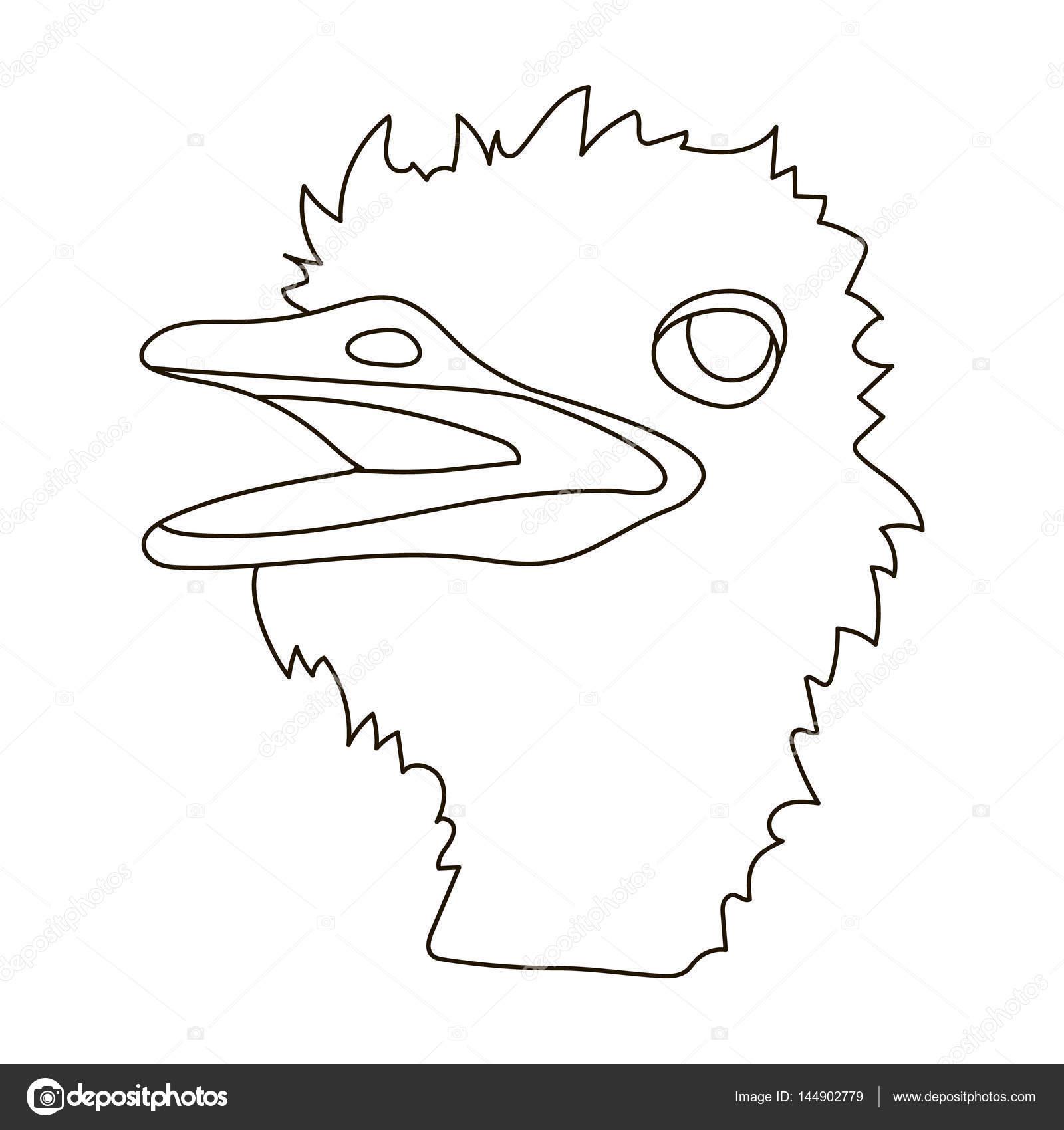 Icono de avestruz en contorno estilo aislado sobre fondo blanco ...