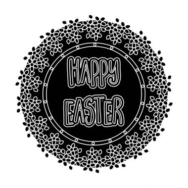 Sticker happy Easter. Easter single icon in black style vector symbol stock illustration.