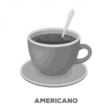 Coffee cup americano.Different types of coffee single icon in monochrome style vector symbol stock illustration web.