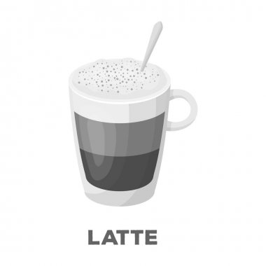 A cup of latte.Different types of coffee single icon in monochrome style vector symbol stock illustration web.