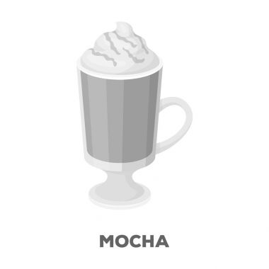 A cup of mocha with foam.Different types of coffee single icon in monochrome style vector symbol stock illustration web.