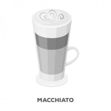 Cup of coffee macchiato with foam. Different types of coffee single icon in monochrome style vector symbol stock illustration web.