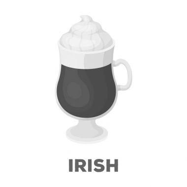 Cup of Irish coffee.Different types of coffee single icon in monochrome style vector symbol stock illustration web.