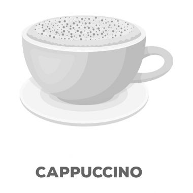 Cup of cappuccino.Different types of coffee single icon in monochrome style vector symbol stock illustration web.