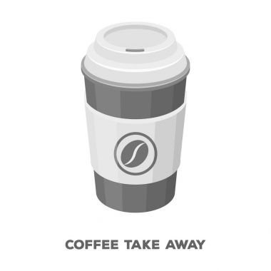 A cup of coffee to takeaway.Different types of coffee single icon in monochrome style vector symbol stock illustration web.