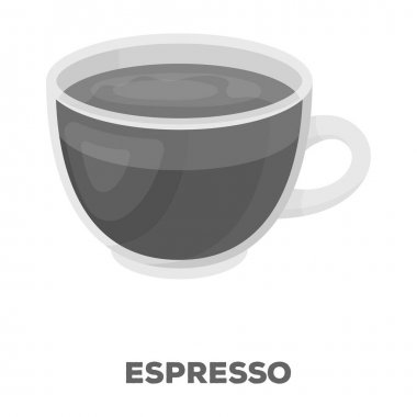 Espresso coffee.Different types of coffee single icon in monochrome style vector symbol stock illustration web.