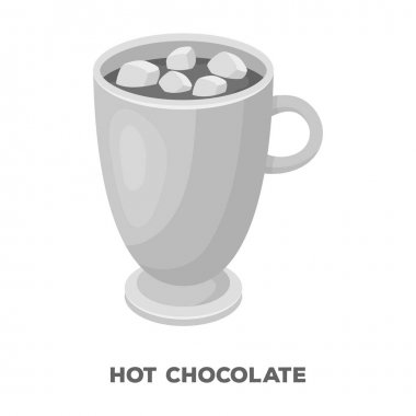 A cup of hot chocolate.Different types of coffee single icon in monochrome style vector symbol stock illustration web.
