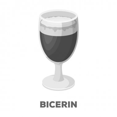 Bicerin coffee.Different types of coffee single icon in monochrome style vector symbol stock illustration web.