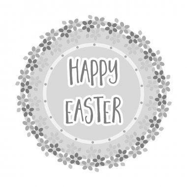 Sticker happy Easter. Easter single icon in monochrome style vector symbol stock illustration.