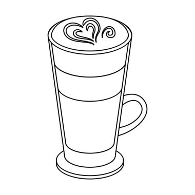 Cup of coffee macchiato with foam. Different types of coffee single icon in outline style vector symbol stock illustration web.