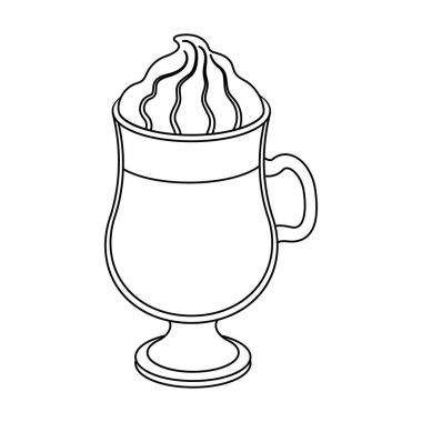 Cup of Irish coffee.Different types of coffee single icon in outline style vector symbol stock illustration web.