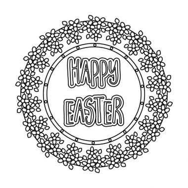 Sticker happy Easter. Easter single icon in outline style vector symbol stock illustration.