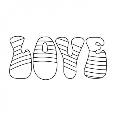 Rainbow inscription of the word love.Hippy single icon in outline style vector symbol stock illustration web.