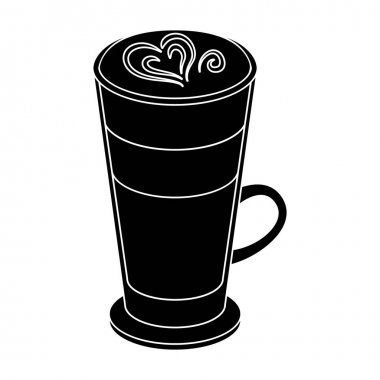Cup of coffee macchiato with foam. Different types of coffee single icon in black style vector symbol stock illustration web.
