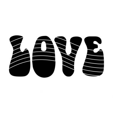 Rainbow inscription of the word love.Hippy single icon in black style vector symbol stock illustration web.