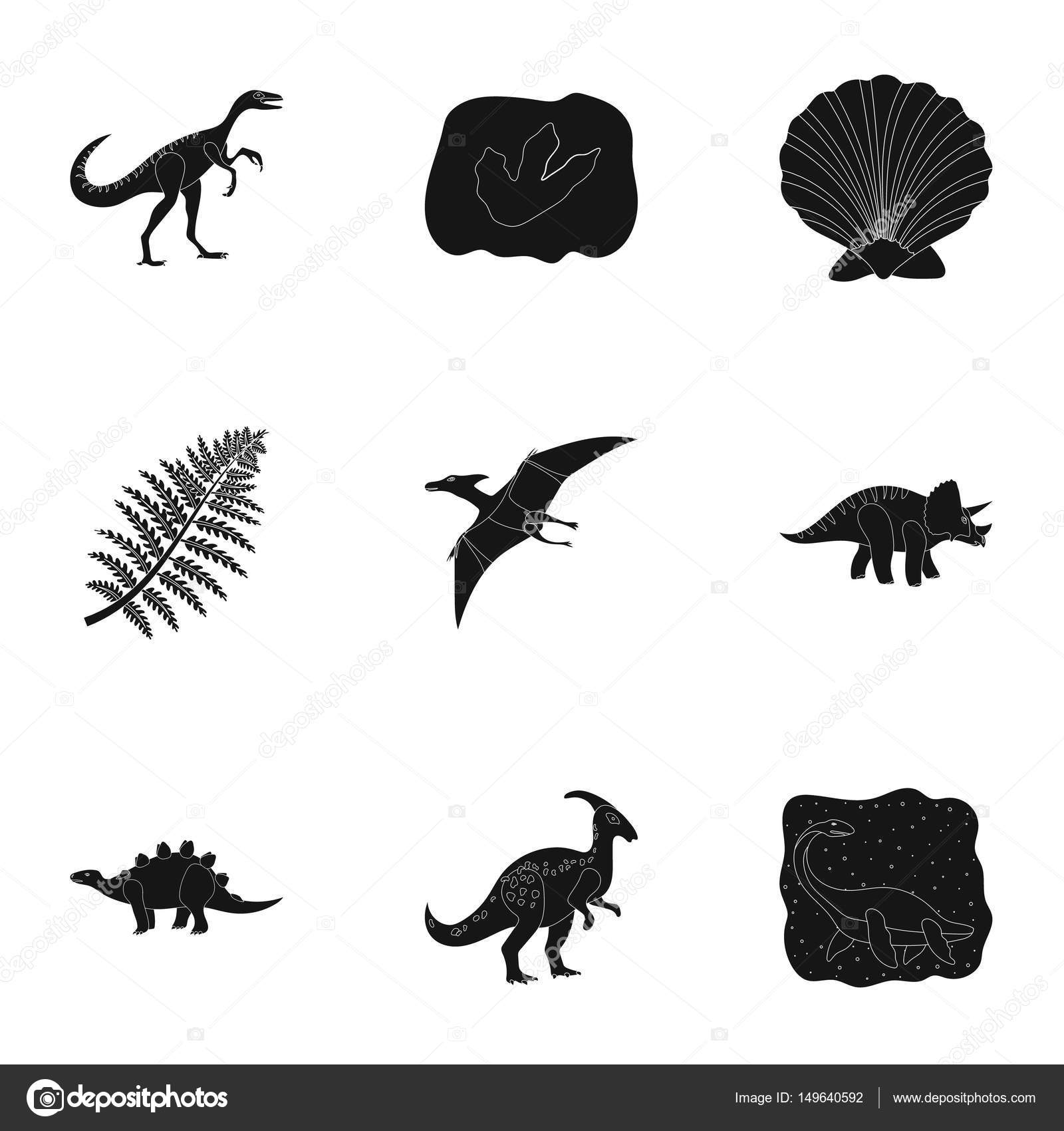 Image of: Mammals Ancient Extinct Animals And Their Tracks And Remains Dinosaurs Tyrannosaurs Pnictosaursdinisaurs And Prehistorical Icon In Set Collection On Black Style Depositphotos Ancient Extinct Animals And Their Tracks And Remains Dinosaurs