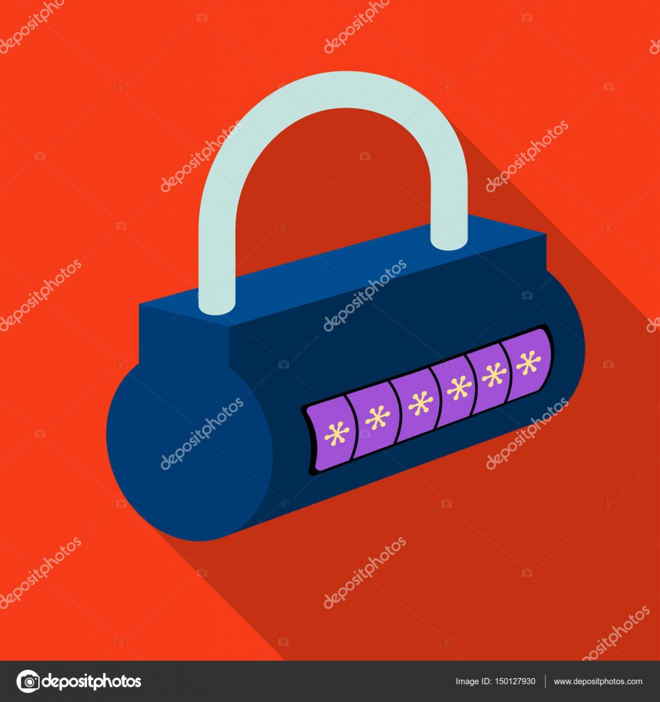 Computer password icon in flat style isolated on white background