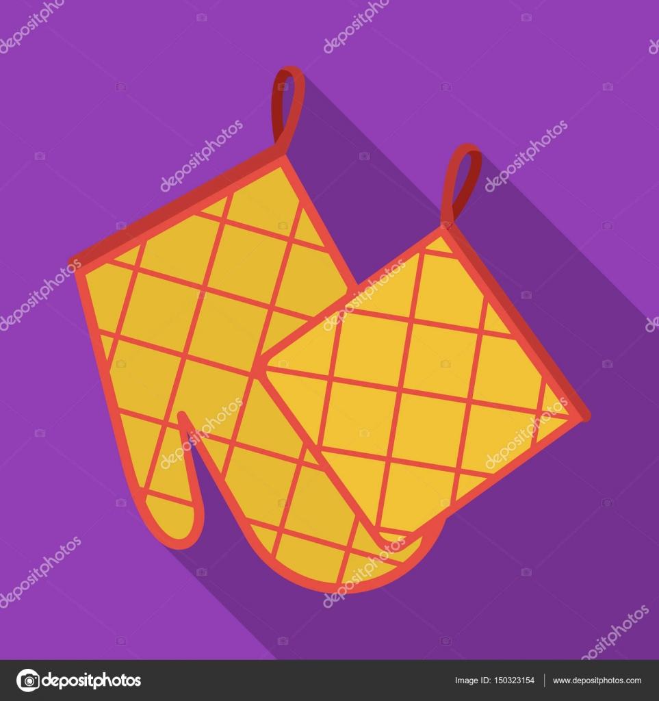 Ofen Handschuh und Topf Halter Symbol stilgerecht Flate isoliert auf ...