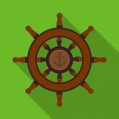 Dřevěná loď volant ikona v plochý izolovaných na bílém pozadí. Piráti symbol akcií vektorové ilustrace