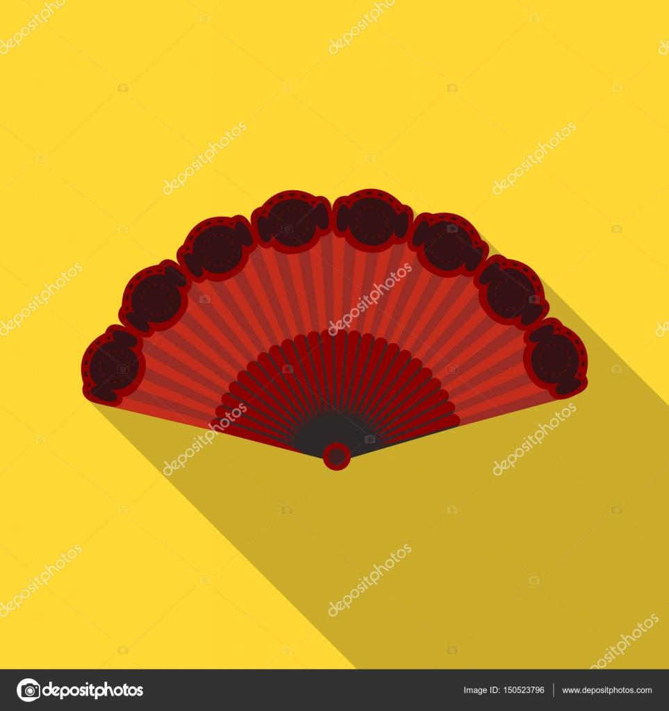 9961844677030 Icono de ventilador de flamenco en flate diseño aislado sobre fondo blanco.  Ilustración de vector stock España país símbolo — Vector de PandaVector
