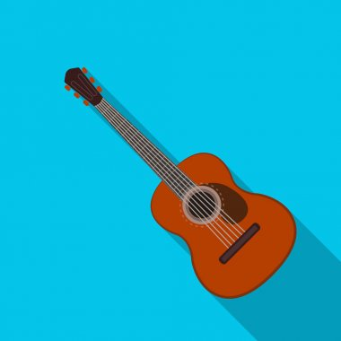 Spanish acoustic guitar icon in flate style isolated on white background. Spain country symbol stock vector illustration.