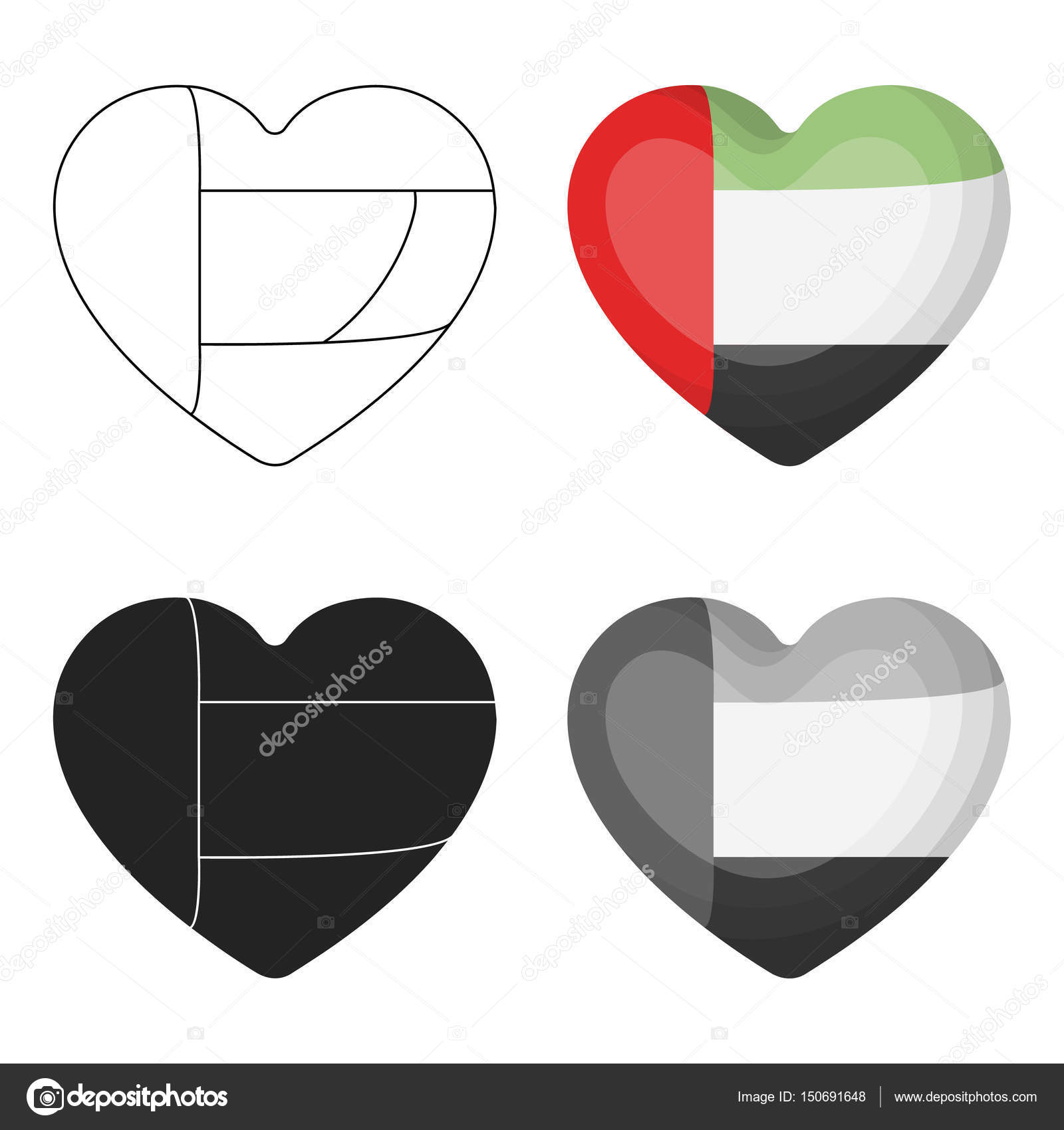 United Arab Emirates Heart Icon In Cartoon Style Isolated On White