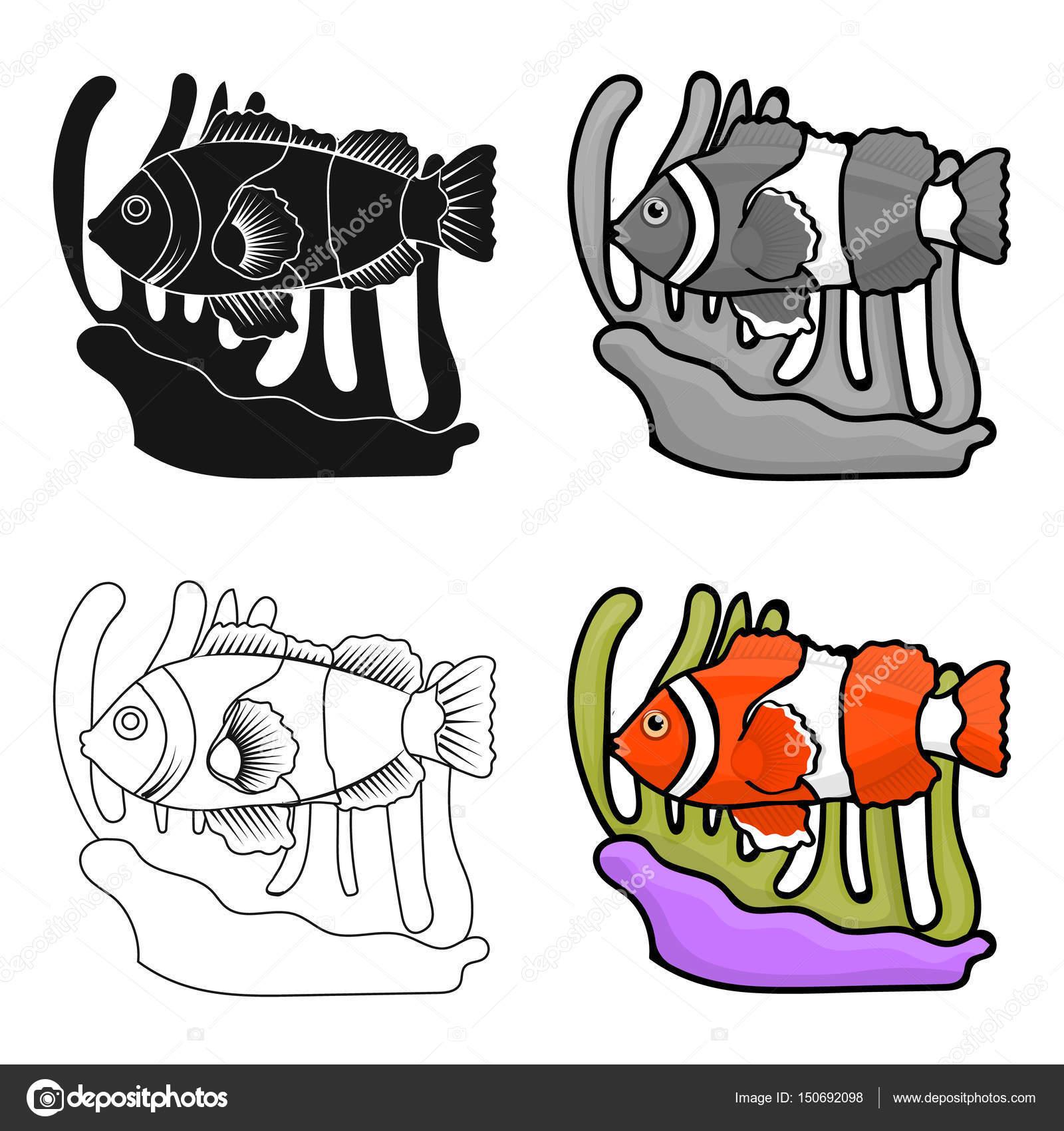 Pez payaso y anémona icono en estilo de dibujos animados aislado ...