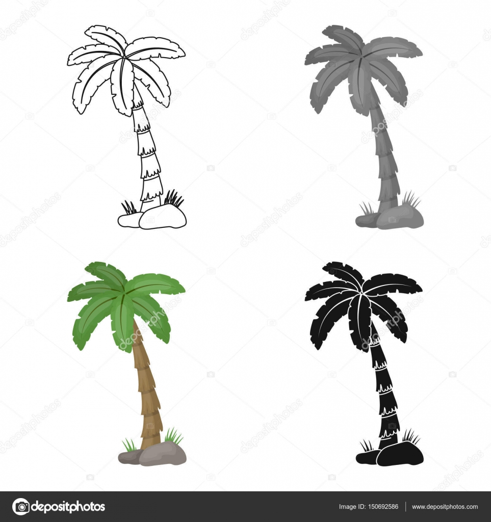 Palm Tree Icon In Cartoon Style Isolated On White Background Brazil