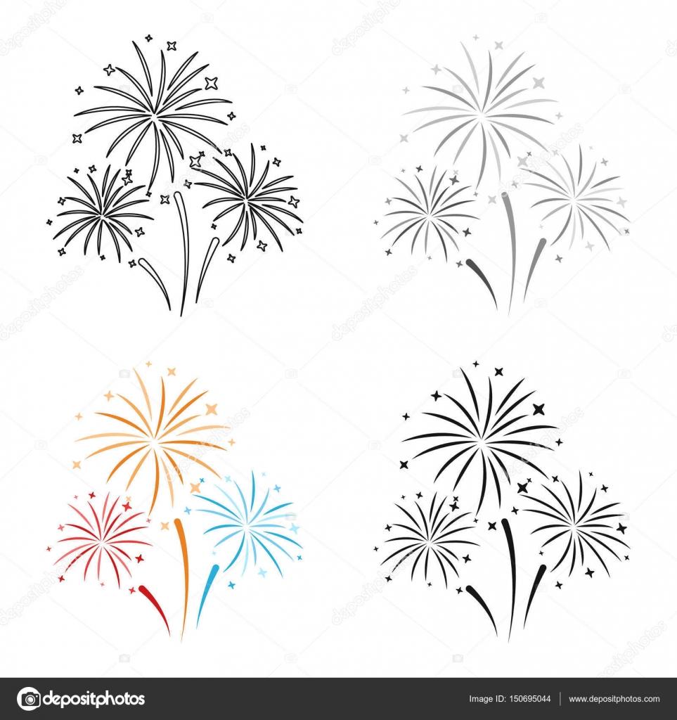 Icono De Coloridos Fuegos Artificiales En Estilo De Dibujos Animados