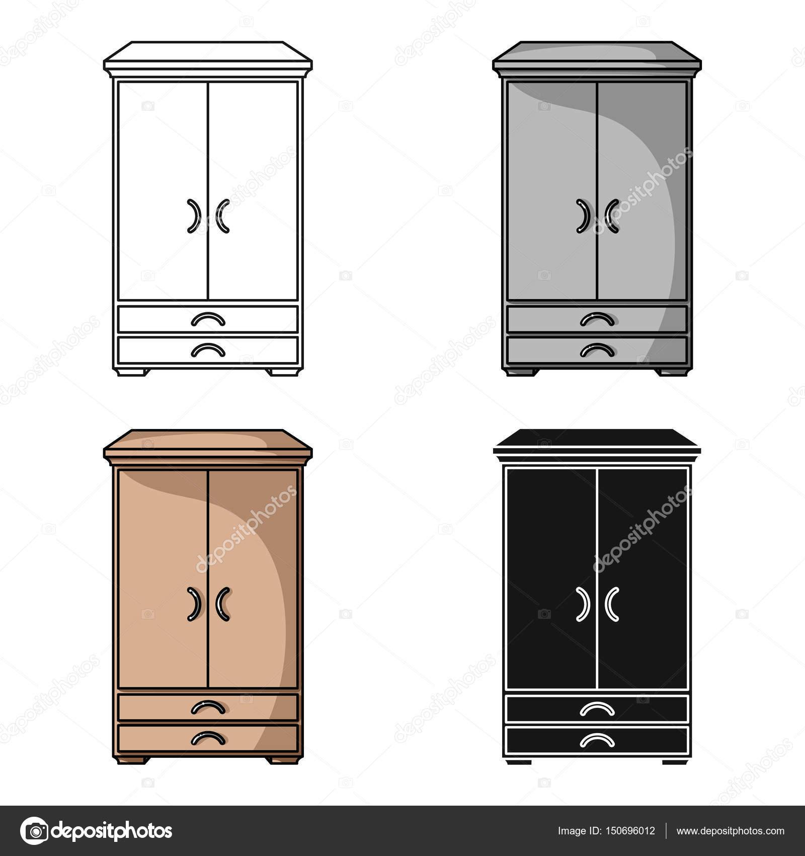 Armario icono en estilo de dibujos animados aislado sobre for Dibujos de muebles