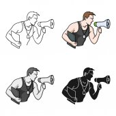 Photo Personal trainer icon in cartoon style isolated on white background. Sport and fitness symbol stock vector illustration.