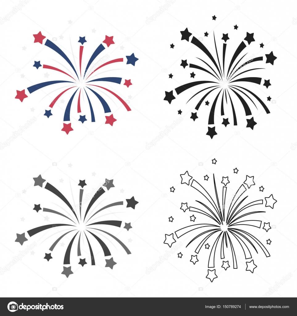 Icono De Fuegos Artificiales Patrioticos En Estilo De Dibujos